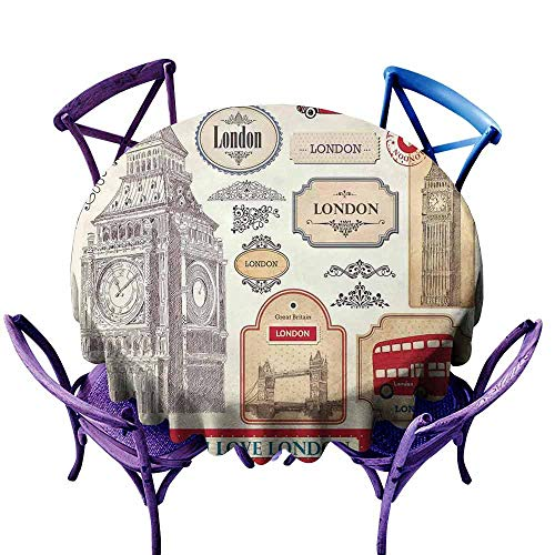 AndyTours Stain Round Tablecloth,London,Conventional British Characteristics Big Ben Red Bus Tower and Bridge Banner,for Events Party Restaurant Dining Table Cover,35 INCH Red Ivory Sepia -