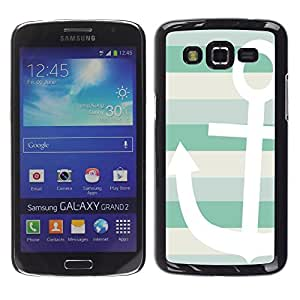 LECELL--Funda protectora / Cubierta / Piel For Samsung Galaxy Grand 2 SM-G7102 SM-G7105 -- Teal White Boat Stripes Pattern --