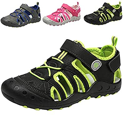 DADAWEN Boys Girls Closed-Toe Breathable Athletic Outdoor Summer Beach Sandals(Toddler/Little Kid/Big Kid) Black Size: 1 Little Kid