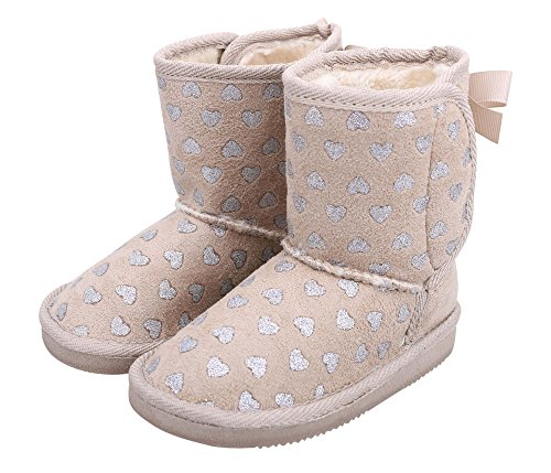 Kids Shimmer Faux Suede Sherpa Winter Boot -Foil Heart Pattern Little Kid 13 (Suede Winter Kids Fur Boot)