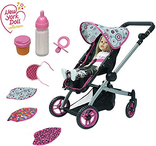 """The New York Doll Collection Deluxe Dolls Stroller - 8-piece Set, – Multicolor fit for 18"""" inch with 3 Interchangeable Hoods and also includes Feeding Set"""