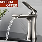 #2: Modern Comercial Spout Single Handle Lever Brushed Nickel Waterfall Bathroom Sink Faucet,Bathroom Faucets Lavatory One Hole Simple Mount
