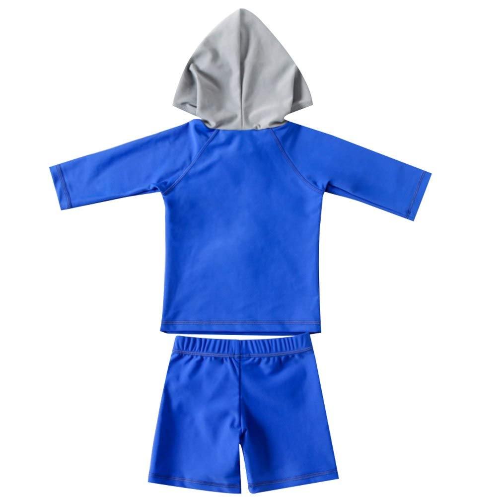 Little Toddlers Boys 2 Pieces Long Sleeve Shark Hoodie Quick Dry Surfing Zipper Uv Rash Guard Swimsuit