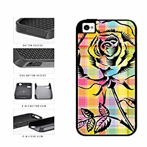 Pretty Rose On Rainbow Plaid Lumberjack Dual Layer Phone Case Back Cover Apple iPhone 4 4s includes BleuReign(TM) Cloth and Warranty Label