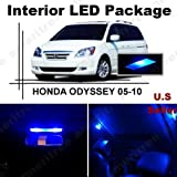 Ameritree Honda Odyssey 2005-2010 (11 Pieces) Blue LED Lights Interior Package and Blue LED License Plate Kit