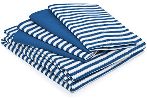 Full Size Bed Sheets - Royal Blue Striped Luxury Sheet Set - Stain, Fade & Wrinkle Resistant - Super Soft Hotel Style Bedding with Deep Pockets - Fitted & Flat (Egyptian Themed Wedding)