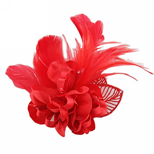 Song Fascinator Feather Flower Hair Clip Pin Brooch Corsage Bridal Hairband Party Wedding for Women (Red) ()