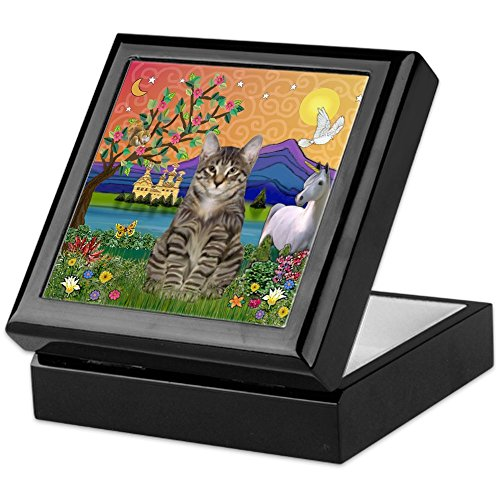 (CafePress - Fantasy Land / Tiger Cat - Keepsake Box, Finished Hardwood Jewelry Box, Velvet Lined Memento Box)