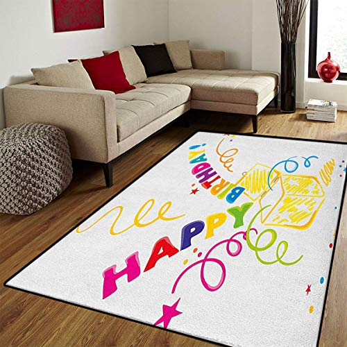 Birthday,Door Mat Outside,Surprise in a Box Theme Doodle Style Cheerful Spirals Confetti and Stars Happiness,Door Mats for Inside Non Slip Backing,Multicolor,6.6x8 ft