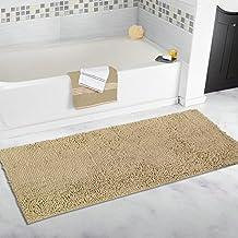 Mayshine 27.5x47 inch Non-slip Bathroom Rug Shag Shower Mat Machine-washable Bath mats with Water Absorbent Soft Microfibers of - Beige
