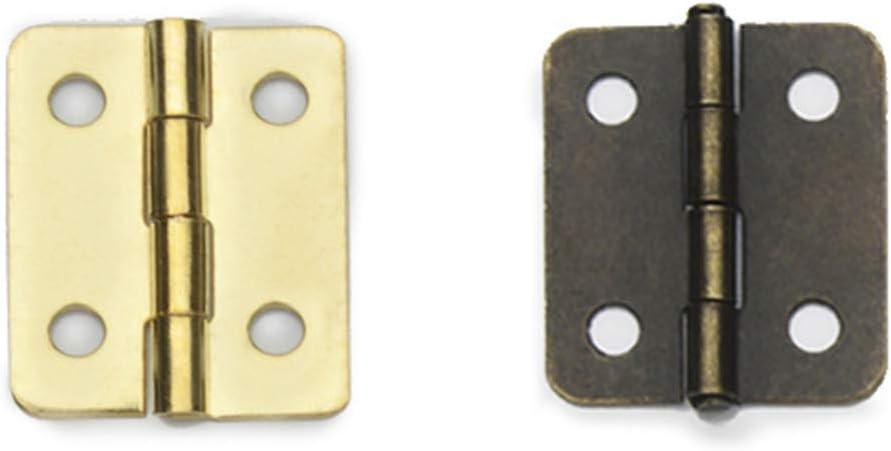 SUPVOX Mini Bisagras de Bronce Antiguo de 12 Piezas Bisagra Plegable con Tornillos de Repuesto para Artesan/ías de Madera de La Casa de Mu/ñecas