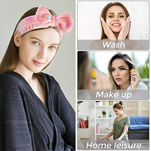 3 otters Bow Hair Band Spa Headband, 8PCS Makeup Headbands for Women Shower Spa