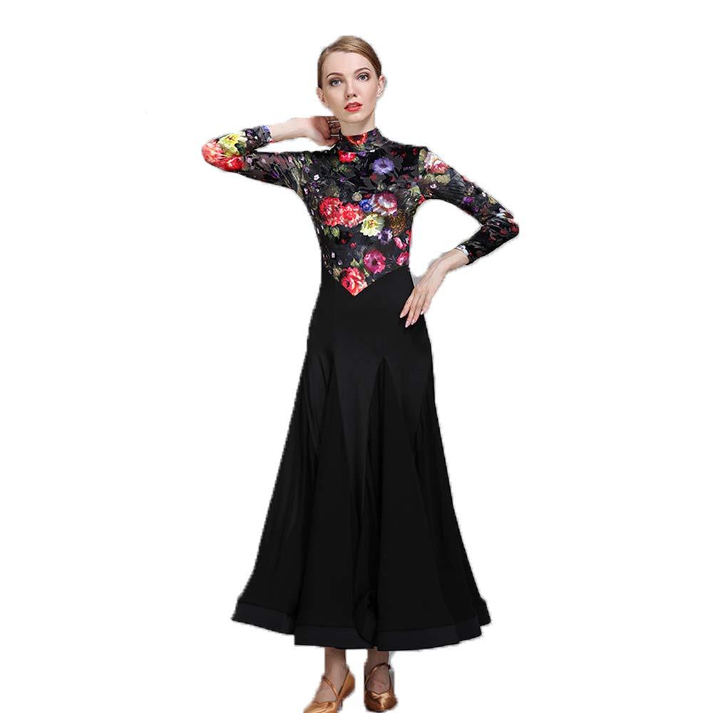 90185a41a Amazon.com : WESEASON Latin Dresses Women Latin Dress for Girls High Collar  top Floral Print Salsa Cha Cha Tango Ballroom Costume Black Size L XL XXL  ...