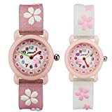 TIDOO Kids Waterproof Quartz Watches with Cute Cartoon Florals for Little Girls Pupils