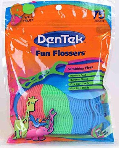 DenTek Fun Flossers pour les enfants, fruits sauvages Floss Picks, Easy Grip pour les enfants, 75 Count (Pack de 6)