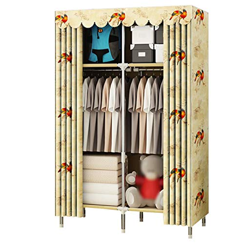 Cotton Armoire (HMEIGUI Cloth Wardrobe Portable Closet Organization - Polyester Cotton Cloth Armoire Wardrobe Closet,Curtain Type Reinforced Solid Steel Tube,Yellow_67x43inch)