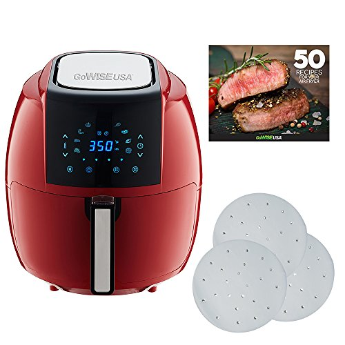 GoWISE USA 5.8-Quarts 8-in-1 Air Fryer XL with 1-Pack Parchment Paper + 50 Recipes for Your Air Fryer Book (Chili Red (Paper)) (Steak And Shake Chili 5 Way Recipe)