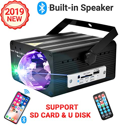 Party Lights Built-in Bluetooth Speaker,USB Charge 5V 2A,Support SD Card/U Disk,with Rotating magic Ball,Sound Activated,IR Remote Control,LED Projector 3 Color RGB Stage strobe Lights,Suitable for Birthday,Wedding,DJ Disco,Dance,Christmas/Xmas (Black)