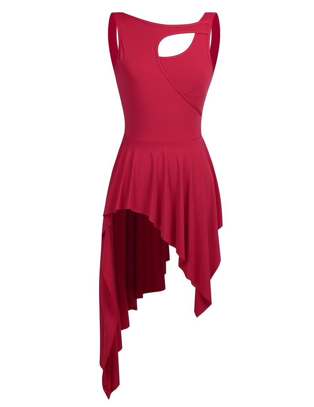 MSemis Women Lyrical Dance Costume Dresses High Low Skirt Camisole Leotard Red Small by MSemis