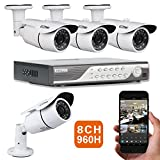 EWETON 8CH 960H DVR 1000TVL HD Security Camera System w/ 4 Indoor/Outdoor Waterproof 120feet Night Vision Security Camera Wide Angle Support Smartphone view Remote Access Email Alarm-No Hard Drive