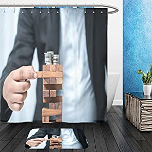 Vanfan Bathroom 2 Suits 1 Shower Curtains & 1 Floor Mats planning risk and strategy in business businessman gambling placing wooden block on a tower 432154873 From Bath room