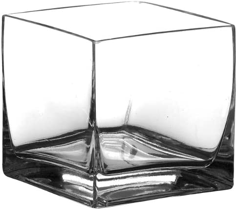 Syndicate Sales 6 x 6 x 6 Square Vase, Clear