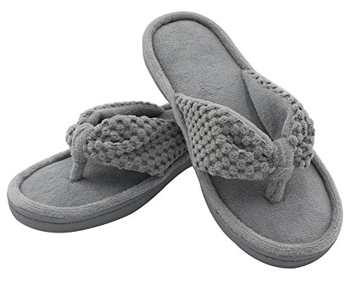 Pictures of Women's Cozy Memory Foam Plush Gridding Velvet Lining Spa Thong Flip Flops Clog Style House Indoor Slippers (Large / 9-10 B(M) US, Gray) 3