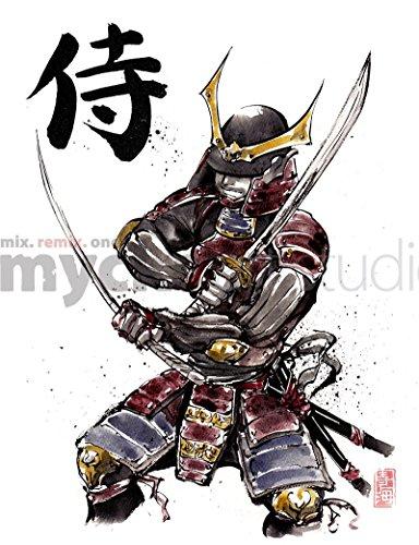 8x10 PRINT of Armored Samurai Japanese Calligraphy SAMURAI