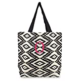 Cathy's Concepts Personalized Ikat Parchment Jute Tote Bag, Monogrammed Letter O, Black