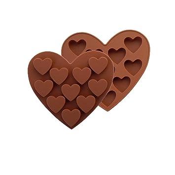 esailq 10 rejilla barra de cubo de moldes y bandejas de silicona congelación Mold Pudding Jelly Chocolate de hielo molde forma de corazón café: Amazon.es: ...