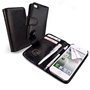 Tuff-Luv - Funda tipo billetera con protector de pantalla para iPhone 5, color negro