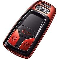 MengY para la Funda del Llavero Audi, protección Completa Estuche for Llavero de diseño Moderno con Llavero Compatible con el Control Remoto sin Llave Audi Llave Inteligente Serie A4L Q7 A5 / TTS