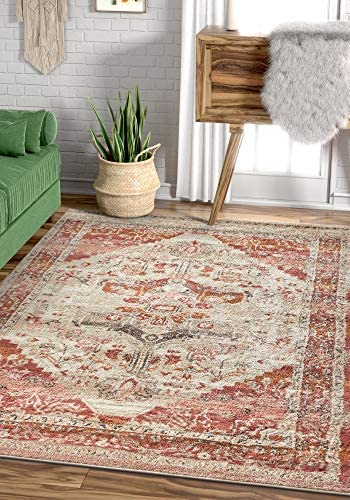 Well Woven Occhio Vintage Medallion Blush Pink Area Rug 5×7 5 3 x 7 3 Soft Plush Modern Tribal Carpet