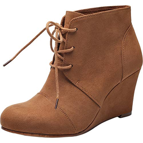 (Women's Wide Width Wedge Boots - Lace Up Low Heeled Ankle Booties w/Round Closed Toe Rubber Sole Memory Foam Insole.(180507,Brown,8.5) (180507,Brown,Size8.5))
