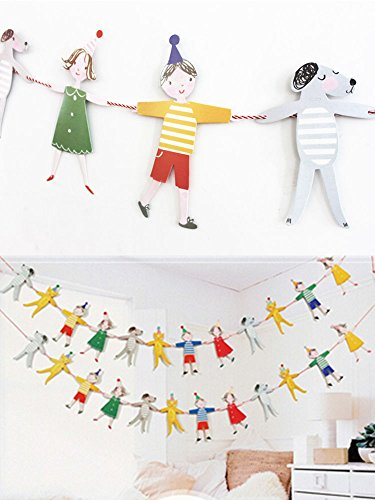Adorable Cartoon Character Animal Color Flag Children's Birthday Party Decoration Paper Flag Banner by DILILILA