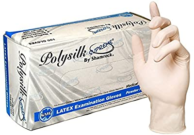 Shamrock 13000 Series Powder Free Polysilk Low Protein Polymer Coated Textured Latex Examination Gloves - Sold by the Case