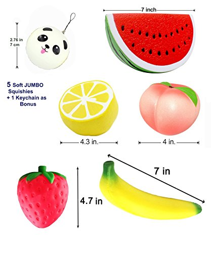 Squishy 5pcs Jumbo squishies+ 1 Bonus Panda Bun Keychain. Peach, Lemon, Watermelon, Strawberry, Banana. Slow Rising Squeeze Scented Charms Hand Wrist Toys.