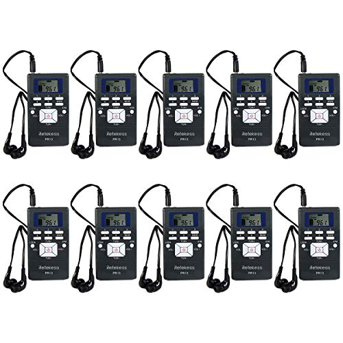 Retekess PR13 Portable Receiver Mini FM Radio DSP for Tour Guide System Tour Guiding Teaching Travel Simultaneous Translation Meeting Museum Visiting(10 Pack)