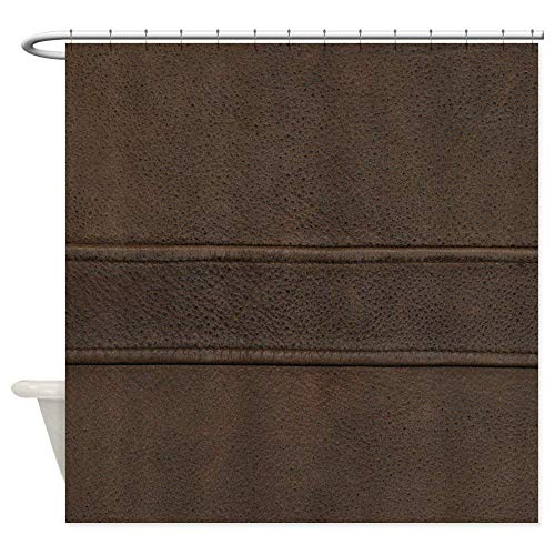 Afagahahs Shower Curtain,Leather Brown Seam Decoration Design Curtain Polyester Waterproof Fabric with 12 Rust Proof Hooks,60 X 72 Inches