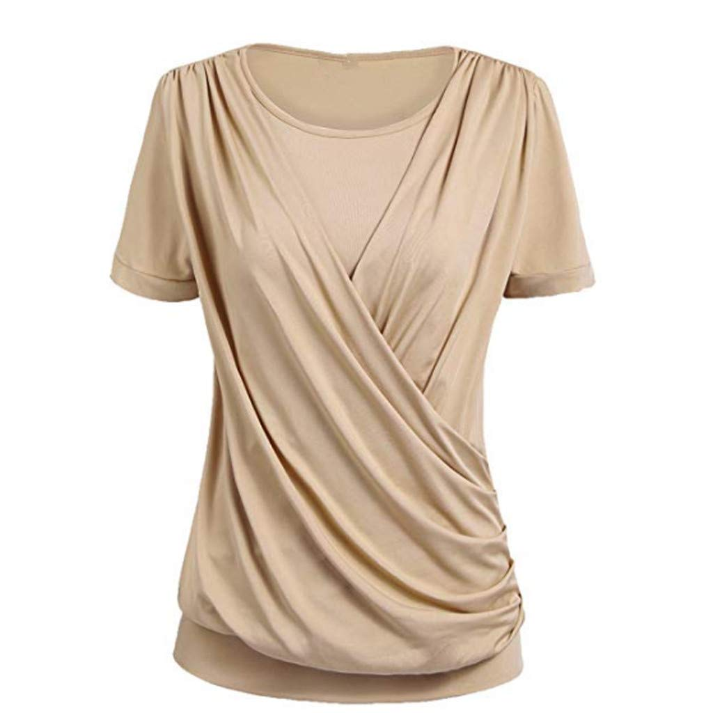 Shusuen Women's Short Sleeve Round Neck T Shirt Front Twist Tunic Tops Casual Loose Fitted Khaki
