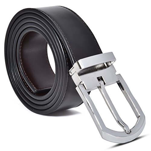 Silver Reversible Belt - Men's 100% Leather Belt, Reversible Black-Brown, Mark Fred Designer Dress Belt (Reversible Black/Brown Leather With Alesso Silver Buckle, Adjustable From Size 30