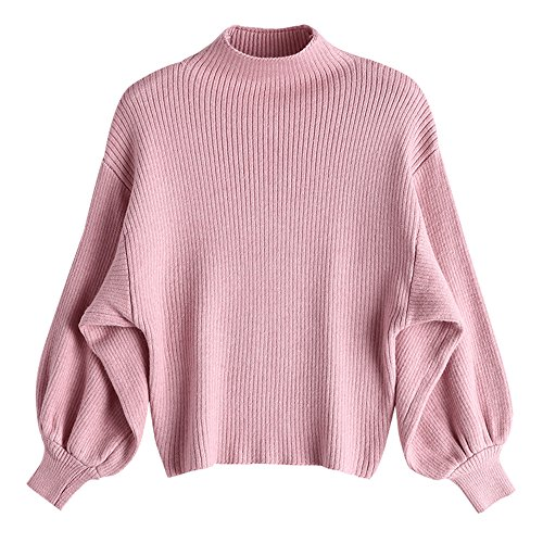Dezzal Women's Lantern Sleeve Mock Neck Drop Shoulder Pullover Knitted Sweater (Pink)
