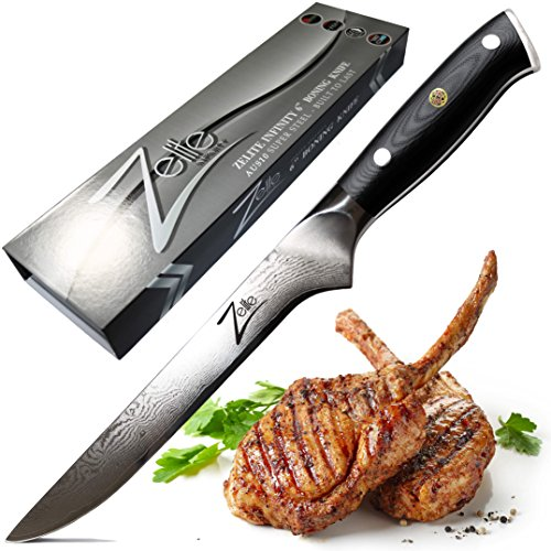 ZELITE INFINITY Boning Knife 6 Inch - Alpha-Royal Series - Best Quality Japanese AUS10 Super Steel 67 Layer High Carbon Stainless Steel -Razor Sharp Superb Edge Retention, Stain & Corrosion (Stiff Blade Black Fibrox Handle)