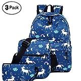 School Backpacks Teens Backpack Unicorn Rainbow Bag Girls Lightweight Bookbags Set