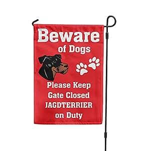 Cuidado de perro Terrier alemán on duty Patio Patio Casa Banner bandera de Jardín hierro juego