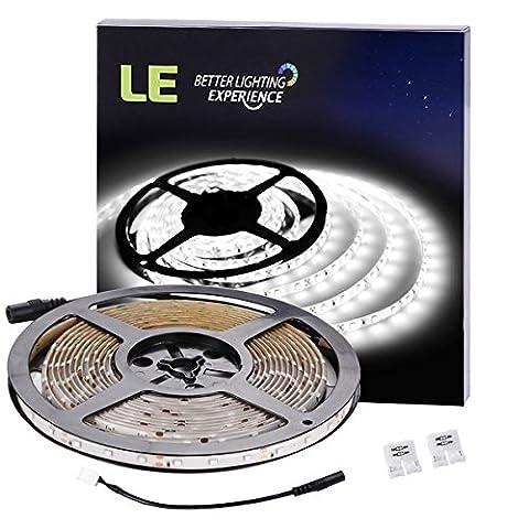 LE 16.4ft Waterproof Flexible LED Light Strip, 300 Units SMD 2835 LED, 6000K Daylight White, LED Tape, 12V LED Light Strips, For Gardens/ Homes/ Kitchen/ Cars/ Bar