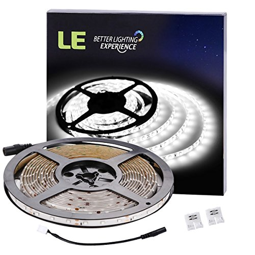 Led Kitchen Lights (LE 16.4ft Waterproof Flexible LED Light Strip, 300 Units SMD 2835 LED, 6000K Daylight White, LED Tape, 12V LED Light Strips, For Gardens/ Homes/ Kitchen/ Cars/ Bar)