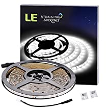 LE 12V Flexible LED Strip Lights, 6000K Daylight White, Waterproof, 300 Units 3528 LEDs, 91lm/ft, Light Strips, Pack of 16.4ft