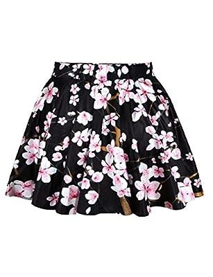 Jojobaby Womens Girls Digital Print Stretchy Flared Pleated Casual Mini Skirt