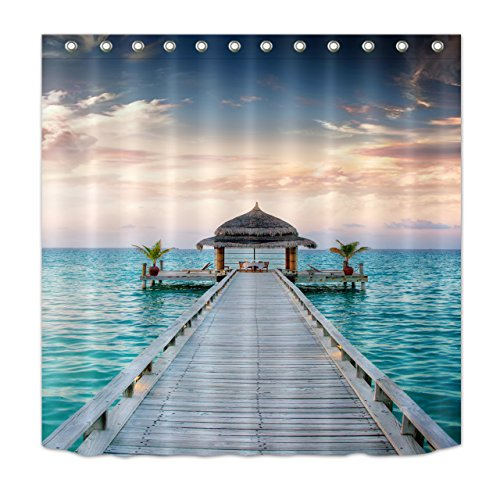 LB Custom Beach Shower Curtain for Shower Stall,Wooden Dock Seashore Gazebo Cabana 3D Digital Printing Polyester Fabric Mildew Resistant Waterproof Bathroom Curtains Set with Hooks,72 x 59 Inch by LB